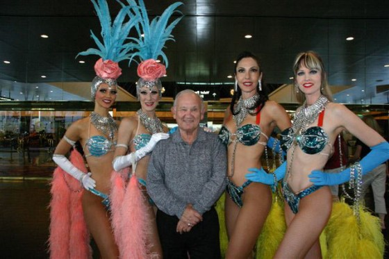 Harold Fox 80th birthday with showgirls in Las Vegas