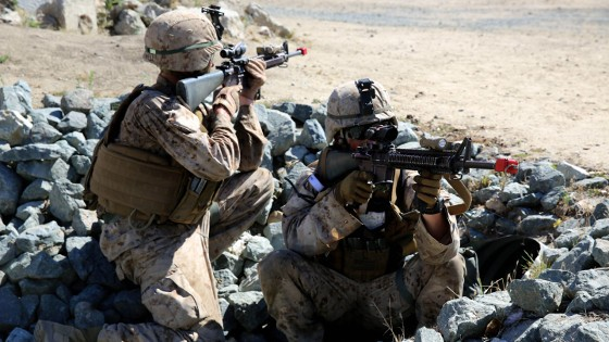 Marines with 3rd Battalion, 5th Marine Regiment, 1st Marine Division, establish security during a helicopter raid, as part of the Marine Corps Combat Readiness Evaluation (MCCRE), aboard Marine Corps Base Camp Pendleton, Calif., Aug. 4, 2015. The MCCRE is used evaluate the operational readiness of a designated unit. (U.S. Marine Corps Photo by Cpl. Demetrius Morgan/RELEASED)