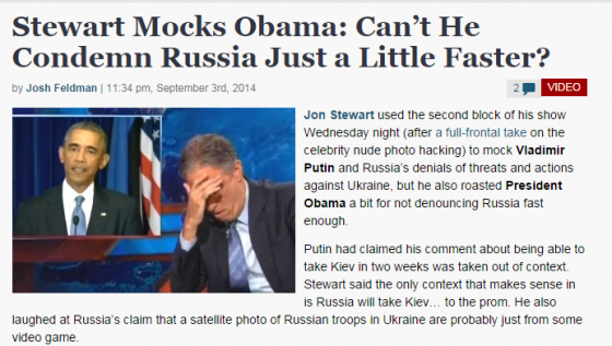 Stewart Mocks Obama  Can't He Condemn Russia Just a Little Faster    Mediaite